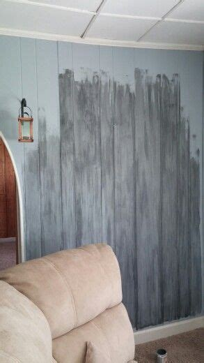 faux barnwood painting paneling baselight blue  gray