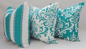 Trio decorative pillow turquoise damask pillow by homeliving for Turquoise couch pillows