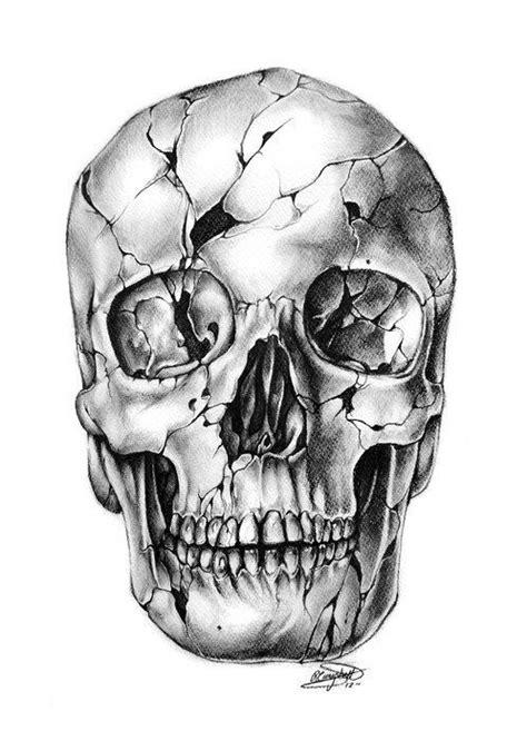 Cracked Skull Tattoo Sketch Skulls Pinterest