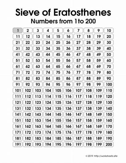 Eratosthenes Sieve Step Numbers Printable Games Prime