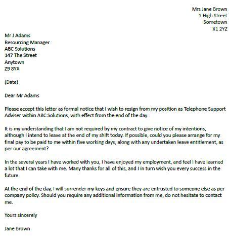 sample  resignation letter short notice notice letter