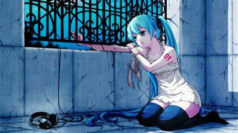 papel de parede anime menina cabelo fones de ouvido