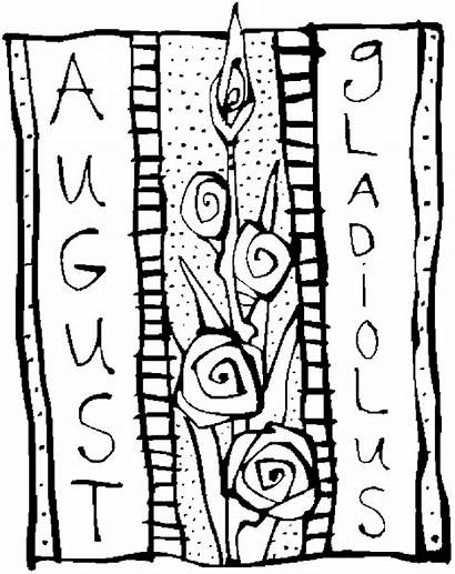 Coloring August Gladiolus Pages Printable Flower Flowers
