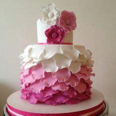 ombre cake  rose petal ruffles baptism petal cake