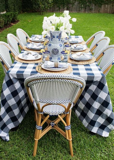 bistro chairs buffalo check tablecloth make for a