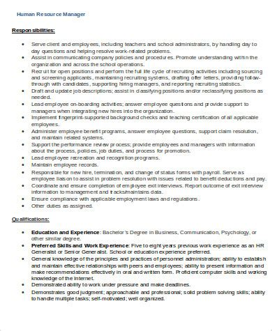 sle hr manager resume 9 exles in word pdf