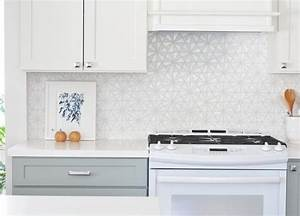 White iridescent hexagon tile kitchen backsplash for White hexagon tile backsplash