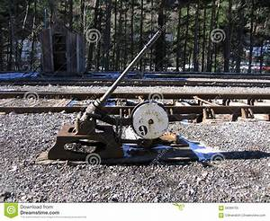 Manual Track Switch At Canfranc Stock Image