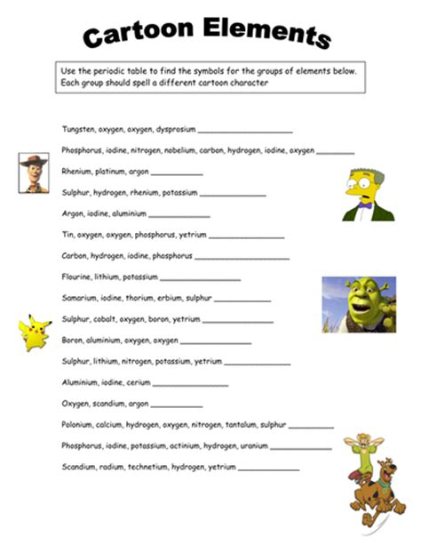 Elements, Periodic Table Worksheet By Tamilyn  Teaching Resources Tes