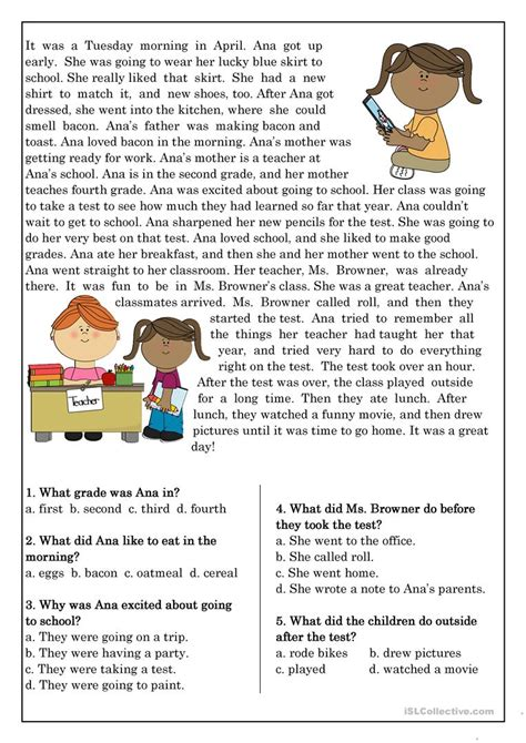 worksheet reading comprehension for elementary yaqutlab