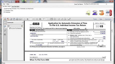simpletax form 4868 youtube