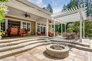 Lovely, Outdoor, Deck, Patio, Space, With, White, Dining, Pergola, Stock, Photo, -, Download, Image, Now