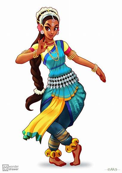 Indian Dance Character Drawing Clipart India Illustration