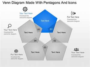 Venn Diagram Made With Pentagons And Icons Powerpoint