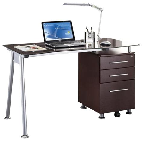 Techni Mobili Glass And Metal Computer Desk by Techni Mobili Tempered Glass Top Computer Desk In