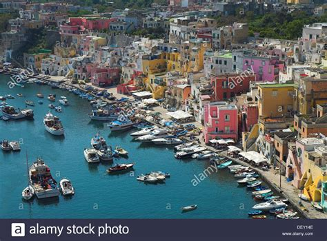 The Colorful Houses Of The Fishing Harbour Of Procida