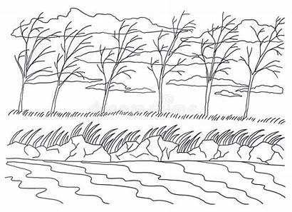 Coloring Landscape Wind Template Painting Autumn Windy