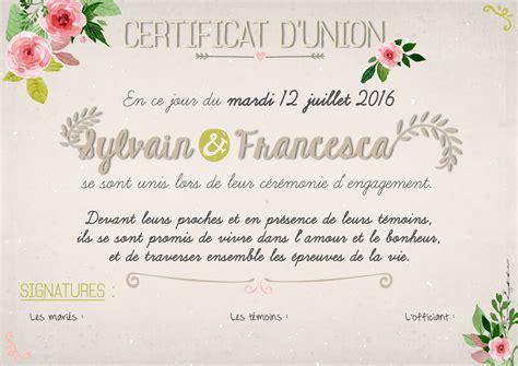 exemple texte faire part mariage laique certificat engagement union c 233 r 233 monie la 239 que mariage