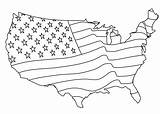 Flag Coloring American Map States United Pages America Around sketch template