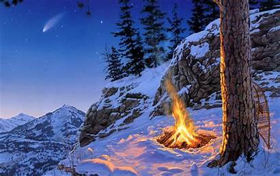 Snow Winter Fire Paintings Scenic Mountains Nature