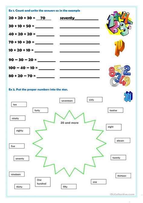 numbers 20 100 worksheet free esl printable worksheets made by teachers