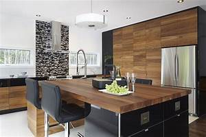 armoires de cuisine moderne placage de noyer et acrylux With idee deco cuisine avec armoire style scandinave