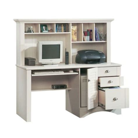 sauder harbor view computer desk with hutch sauder harbor view collection antiqued white computer desk