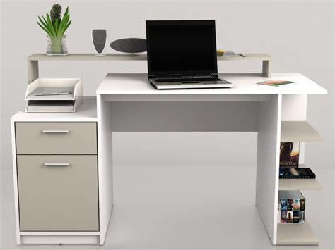 bureau blanc avec rangement bureau zacharie 1 tiroir 1 porte blanc taupe