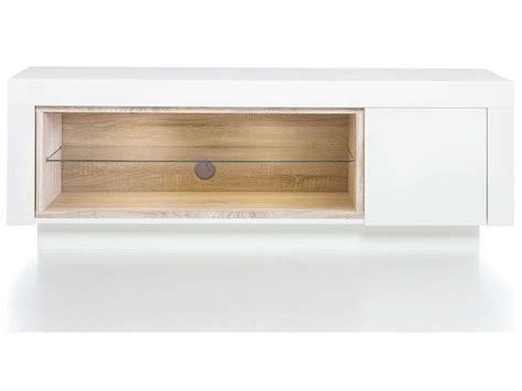 meuble tv malou coloris blanc et bois image casa d 233 coration