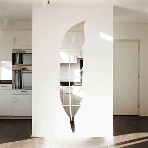 miroir mural chambre big size 120 30cm feather mirror surface wall stickers diy