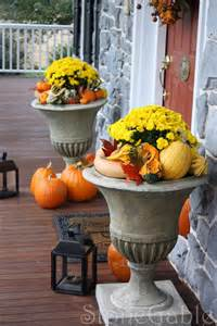 Outdoor Fall Decor with Urns
