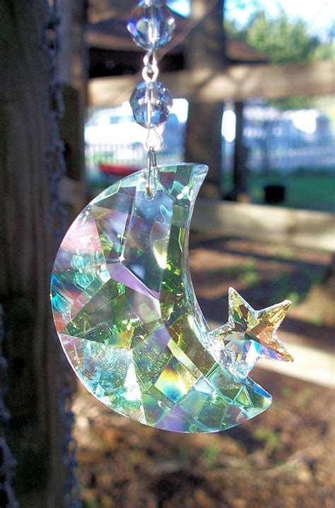 moon  star crystal suncatcher iridescent