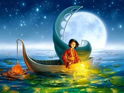 Moon Fantasy Lake Magical Wallpapers Oriental Magic