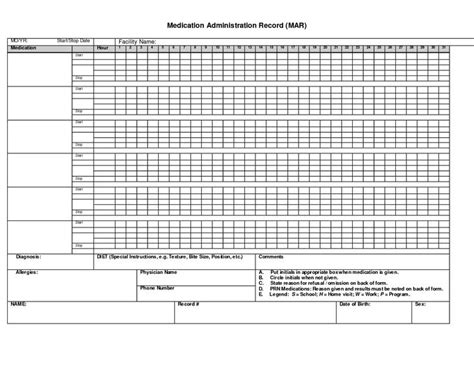 medication administration record template blank medication administration record template gantt chart excel template