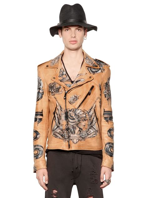 htc hollywood trading company hand painted tattoo nappa leather jacket  brown  men lyst