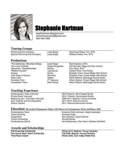 Vocal Performance Resume Template by Steph Hartman About
