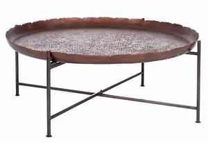 Table Basse Metal Ronde : table basse ronde orientale en m tal marron fonc 91x91x35cm j line ~ Teatrodelosmanantiales.com Idées de Décoration