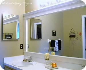 bathroom mirror framed with crown molding hometalk With molding around mirror bathroom