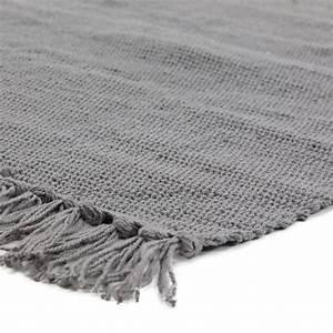 petit tapis a franges gris fonce en coton 50x80cm tapis With petit tapis gris