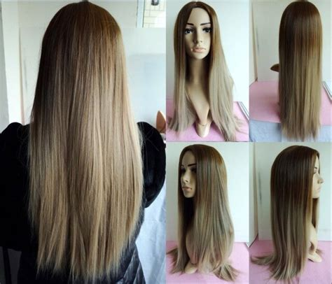 dyeing wig simulation dumb light  long straight hair