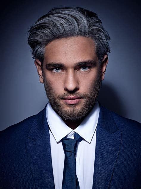 fashionable gray hair color  black streaks  men
