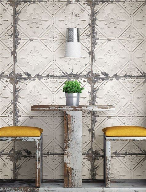 vintage tin tile peel  stick wallpaper kitchen wall