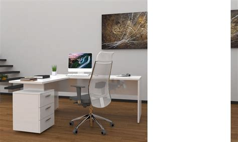 bureau angles ensemble bureau d 39 angle moderne blanc laqué wanda