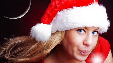 full hd wallpaper blonde blue eyes christmas hat desktop