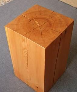 Wood, Block, Side, Table