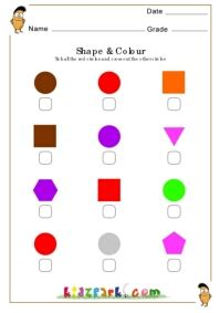 circles shapes worksheet  tick  crossprintable