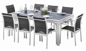 Table Jardin 8 Personnes : salon de jardin blanc et gris 8 personnes table extensible ~ Teatrodelosmanantiales.com Idées de Décoration