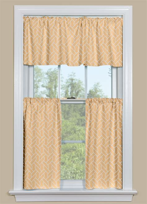 geometric kitchen curtain  twisted rope design  brown