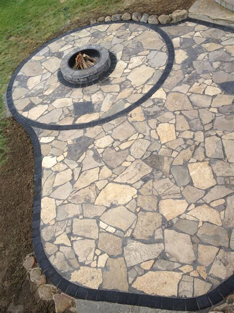 Canadian Flagstone Patio With Unilock Paver Accent Bricks