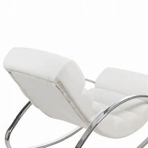 fauteuil a bascule design en simili cuir blanc et With fauteuil en cuir blanc design